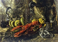still life - lobster, lemons, christening mug and two lidded tankards on a cloth covered table top by kenneth newton