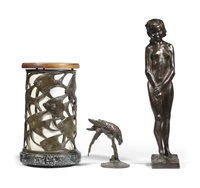 female nude, parrot and table lamp (3 works) by rachel m. van dantzig