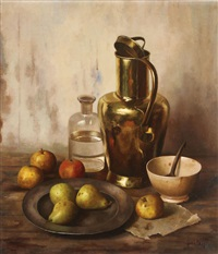 still life with copper kettle and fruit by henk bos