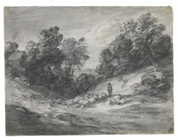 wooded landscape with shepherd, sheep and cottage by thomas gainsborough