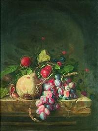 eine birne, trauben, kastanien, haselnüsse, brombeeren und ähren auf einer steinernen plinthe by ottmar elliger the elder