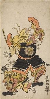 der kampf zwischen ushiwakamaru (der spätere minamoto no yoshitsune) und benkei auf der gojô-brücke (hosoban benizuri-e) by okumura masanobu