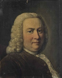 portrait of a gentleman, traditionally identified as johann sebastian bach (1685-1750), bust-length, in a rust coat by german school (18)
