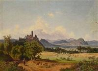 blick auf die godesburg by theodor (wilhelm t.) nocken