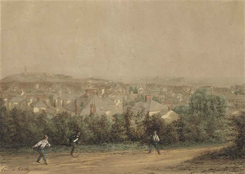 boys playing on a lane above st helier with fort regent and elizabeth castle beyond by louis evrard conrad de kock