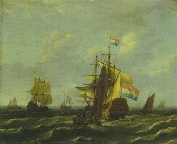 niederländische dreimaster auf bewegter see by adam silo