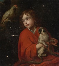 parrot watching a boy holding a monkey by jacob oost the elder