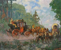 coach and riders passing a wagon train by lorne kidd smith