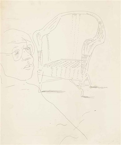 mo mcdermott and wicker chair by david hockney