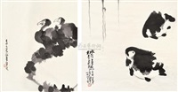 水墨画 (两件) (various sizes; 2 works) by ma longqing