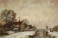 winterlandschaft mit häusern und windmühle am bach by hugo klein