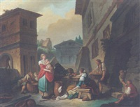 a street scene with vegetable sellers by jacques françois amand