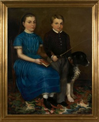portrait of a young girl and boy with their dog by joseph whiting stock