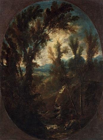 paesaggio con monaci by antonio francesco peruzzini alessandro magnasco