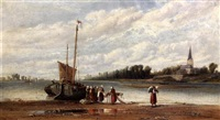 Estuary scene with women unloading a sail barge