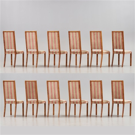 A Stained Birch Dining Room Set With A Table And Twelve Chairs By Wiwen  Nilsson