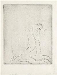 liegender mann, stehende frau, skizze (+ zwei verwundete ii; 2 works) by wilhelm lehmbruck