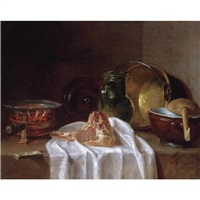 still life with a brazier, earthenware jugs, a copper bowl and a lamb chop on a stone ledge by jean baptiste siméon chardin