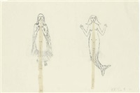 untitled mermaid and winged woman by kiki smith