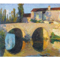 le pont à labastide du vert en été vers midi by henri jean guillaume martin
