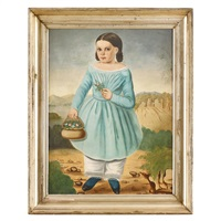 portrait of a little firl in a blue dress with a basket of flowers by american school (19)