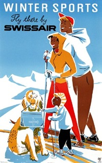 swissair winter sports by posters: sports - skiing