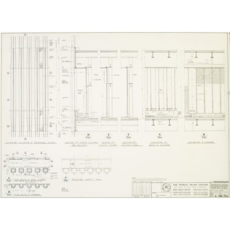 world trade center north tower facade elevations and sections at 41st amp 75th f by minoru yamasaki