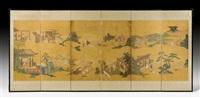 feine darstellungen aus einer chinesischen legende mit diversen szenen, die sich im freien, vor anwesen und auf terrassen abspielen by anonymous-japanese (18)