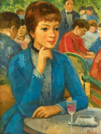 young woman in cafe by madeleine avril
