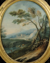 paesaggi ed armenti ed architetture (3 works) by italian school-genoa (18)