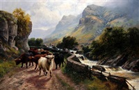 highland cattle - pass of the trossachs by h.r. hall