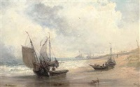 trawlers on crosby beach by john wright oakes