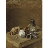 a still life with two songbirds together with a shot-making set on a ledge by jean baptiste siméon chardin