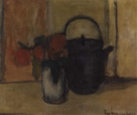 still life with teapot and roses in a white vase by theo swagemakers