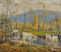 landscape with cattle by george glenn newell