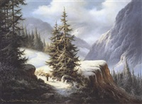 continental mountain landscape with figure by ludwig muninger