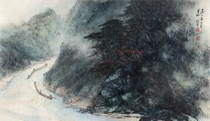 清江放排图 landscape by li xiongcai