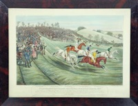 the northampton grand national steeple chase (set of 4) by charles hunt