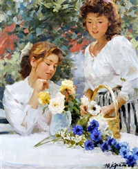 young ladies arranging a vase of flowers by yuri krotov