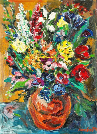 stilleben med blommor i vas by albin amelin