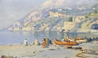 küstenpartie bei amalfi mit fischerbooten by luca albino