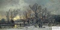 winterliche waldlandschaft bei sonnenuntergang by adolf stademann