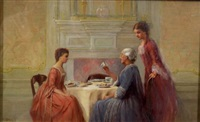 taking tea with grandmother by h. irving marlatt