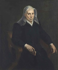 portrait of an elderly lady, three-quarter-length, in a savonarola chair, a prayer book in her right hand by sofonisba anguissola