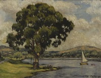 tree overlooking a lake with boat by sylvia clark molloy