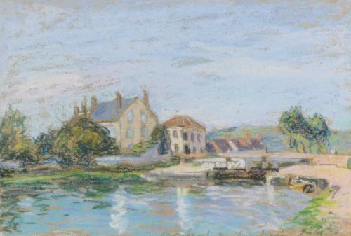 maisons au bord de lécluse de la gazonne by alfred sisley