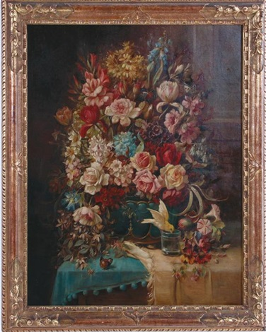 spring floral butterfly and bird still life by hans zatzka