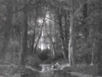 skovparti med kvinder der vasker t+j i floden by nicolas rousseau
