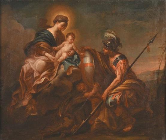 madonna con bambino e san giorgio con lo scudo di genova by domenico piola