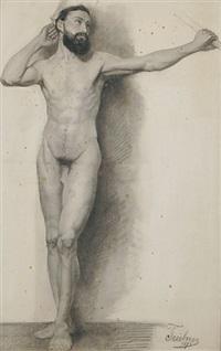 bärtiger männlicher akt von vorne, einen arm zum kopf erhoben - stehender männlicher rückenakt, den kopf zur seite gewandt. aktstudien (2 studies) by wilhelm trübner